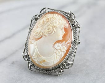 Sterling Silver Cameo Brooch, Estate Jewelry M76152KM-D