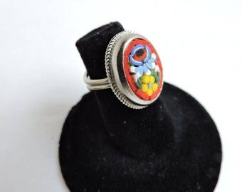 Millefiori Oval Cocktail Ring | Vintage Red Mosaic Floral Artwork Jewelry | Silver Base Adjustable Ring | GreenTreeBoutique