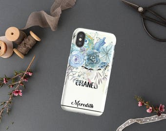 Chanel Inspired Phone Case, Chanel Shopping Bag, Watercolor Phone Case, iPhone X 6 7 8 Plus, Samsung Galaxy Edge Designer Folio Wallet Gift