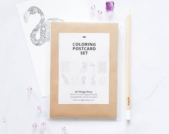 Postcards Adult Coloring To Color In Book Set