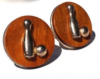 Mid Century Modern 60s Cufflinks,Wood & Metal Bowling Pin Design,Joseph Vastano Patent 2974381,Unusual Cufflinks,Vintage 60s,Bowler's Gift