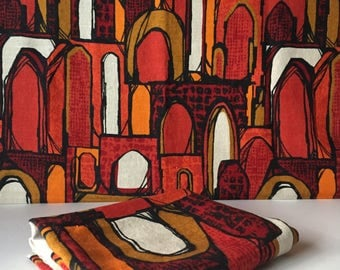 """Vintage Linen Fabric, Screen Printed Material, Mid Century Fabric, Upholstery Fabric, Linen Curtains, Size 30"""" X 99"""""""