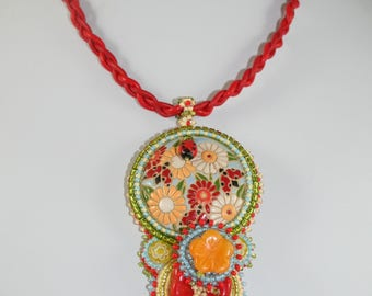 Hawaiian Summer-Bead embroidered Golem Necklace