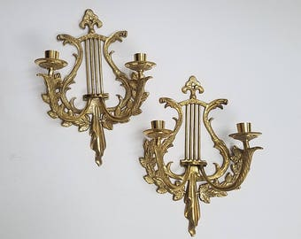 Brass Wall Candle Holder  | Pair of Brass Candelabra  | Hollywood Regency Decor | Two Candle Holder |  Bronze Wall Sconce  |  Brass Leaves