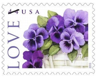 10 Vintage Lavender Pansy Postage Stamps // Unused Purple Flower Pansies Stamps // 44 Cent Floral Love Stamps for Mailing