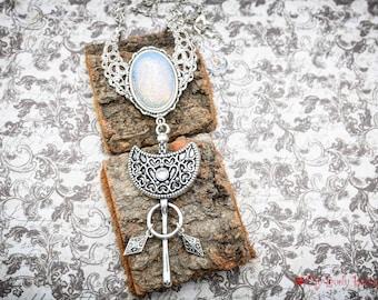 Sacred Geometry - opalite nature - filigree moon - pagan geometric - long necklace -black lovers - silver moon