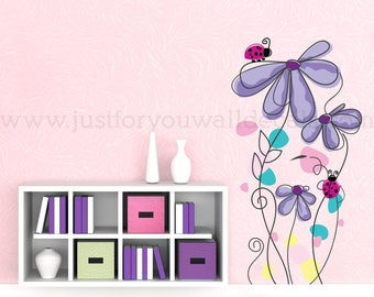 Nursery Wall Decal  - Teen Girl Room Wall Decal - Flower Wall Decal - Abstract Flower Wall Decal - Wall Stickers - Custom Decals - 04-0009