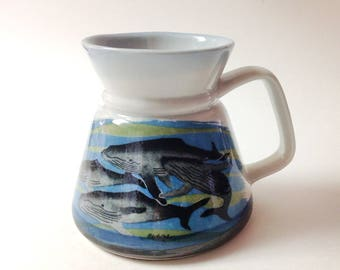 Otagiri Travel, Commuter Whales Mug, Wide Based Humpback Whales Commuter Mug, 1980s