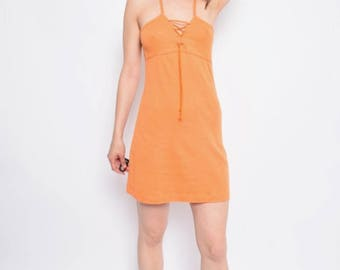 Vintage 90's Lace Up Orange Dress / Sleeveless Orange Mini Dress / Orange Mini Summer Dress - Size Small
