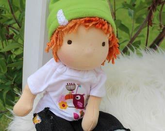 """Waldorf doll,12,5"""" tall doll, steiner doll, organic doll, fabric doll, cloth doll, handmade"""