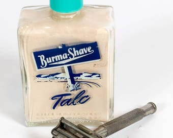 shaving Talc, Vintage Toiletry, shaving, Burma Shave, Collectible Glass Bottle