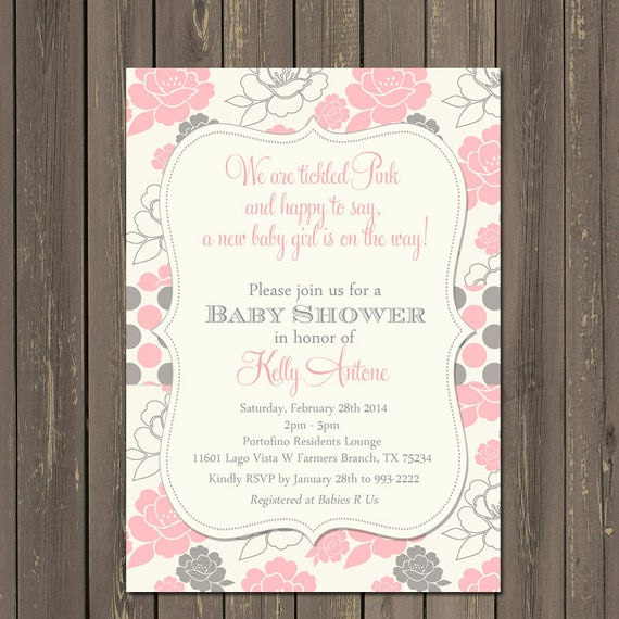 Pink and grey baby shower invitation tickled pink baby shower il570xn filmwisefo
