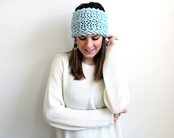 Knit Turban Headband, Earwarmer Knitted, Running Headband- Harbor Headband