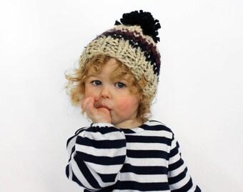 Childrens Hat, Kids Pom Hat Knit Baby Bobble Hat Child Toddler- Little Ellicott Hat