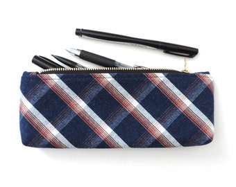 Pencil Case Zipper Pouch Blue Plaid