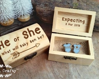 Gender Reveal Wooden Cufflinks Engraved Customized box Baby He or she Personalized Rustic Dad Daddy to be Party Gift Cuff links