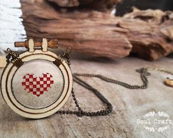 Cross Stitch Red Heart Birthday Valentine Mother's day Wedding BFF Best friend gift
