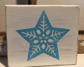 Star Snowflake Wood Block