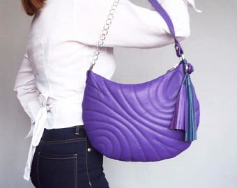 Purple quilted leather bag. Small leather shoulder bag. Tassel embossed leather purse purple.