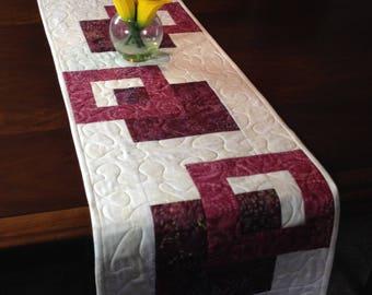 Quilted Cream and Wine Tablerunner, Modern Batik Table Runner, Handmade Reversible Table Quilt, Contemporary Marsala Dining Decor