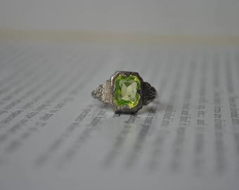 Vintage Sterling Ring, Glass Stone - 1930s Silver Ring with Green Glass Stone