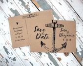 Nautical Save the Date Cards, Rustic Save the Date Cards, Save the Date Postcard, Anchor Save the Date Cards, Engagement Card, Anchor
