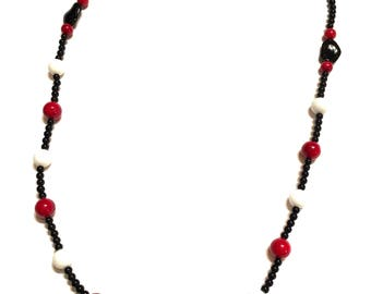 Necklace. Beaded. Red. White. Black.