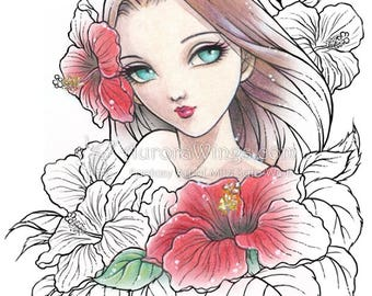 Digital Stamp - Instant Download - Spirit of Hibiscus - digistamp - Fantasy Line Art for Cards & Crafts by Mitzi Sato-Wiuff