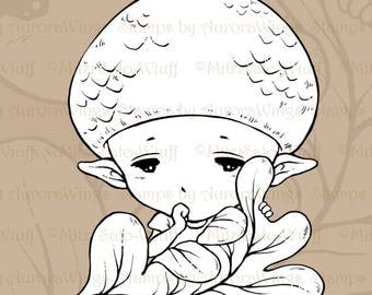 PNG Digital Stamp - Acorn Baby - Instant Download - Baby Acorn Elf Sucking Thumb - Whimsical Line Art for Cards & Crafts by Mitzi Sato-Wiuff