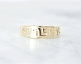 Vintage Wedding Band | Mens Wide Wedding Ring | Greek Key Ring | Fine Stacking Jewelry | Unisex Geometric Ring | 14k Yellow Gold | Size 8.75