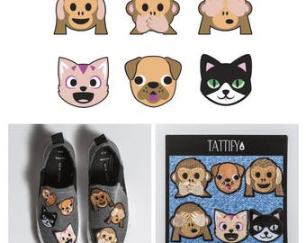 Emoji Animals Embroidered Sticker Patch Set Real Talk Collection