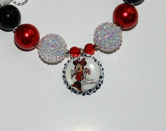 Christmas Minnie Necklace, Bottlecap Pendant, Bubblegum Beads, Girls Chunky Necklace Red White Black Minnie Mouse Merry Christmas Pendant
