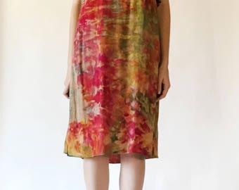 HAND-DYED Flounce Midi Dress / Medium / Bright Ice Dyed Vintage Dress