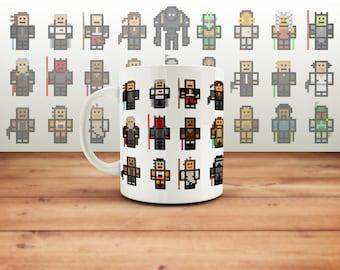 Star Wars Pixel Hero Coffee Mug, Starwars Fan Cup Gift,  Print, Tea, Jedi Present, Minecraft Gift, Skywalker, Han Solo
