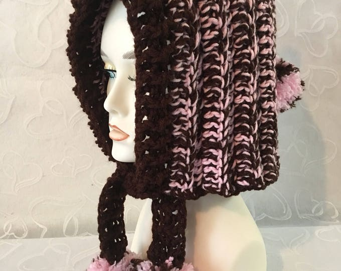 Crocheted Hoodie-Winter Hat-Women's Hats-Girls Hats-Fairy Hoods-Pink and Brown-Pom Pom Hats-Chunky Hoods