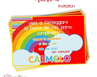 RAINBOW printable invitation