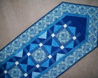 Blue white table runner - damask patchwork topper - long quilted runner -  large angled table runner