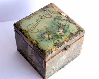 Celluloid Vanity Box, AS IS Antique Celluloid Box, Cuffs & Collars Box, Green Purple Iris Flower Box, Hinged Dresser Box, Floral Jewelry Box
