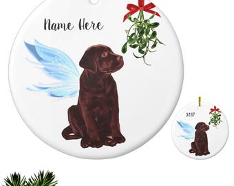 Chocolate Lab Angel - Chocolate Lab Ornament - Labrador Angel Ornament - Chocolate Lab Memorial - Chocolate Lab Christmas Ornament