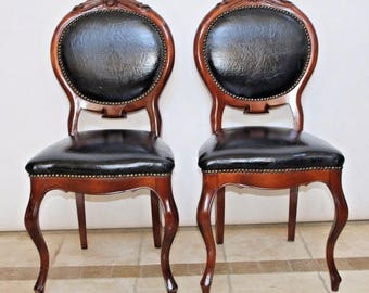 Set of French Provincial Style Carved Wood Black Leather Accent Chairs Insured Safe Nationwide Shipping Available