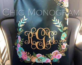 Monogrammed Car Trash Bag Car Organizer Custom Car Trash Can Mint and Gold Floral Classy Black Personalized Car Accessories Car Decor