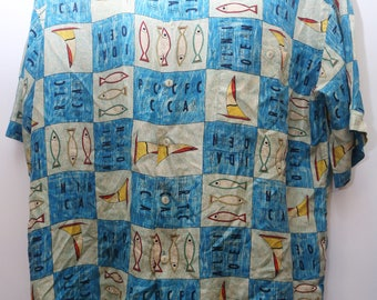 "Rare 90's Vintage ""BURMA BIBAS"" 100% Silk Short-Sleeve Abstract Patterned Shirt Sz: X-LARGE (Men's Exclusive)"