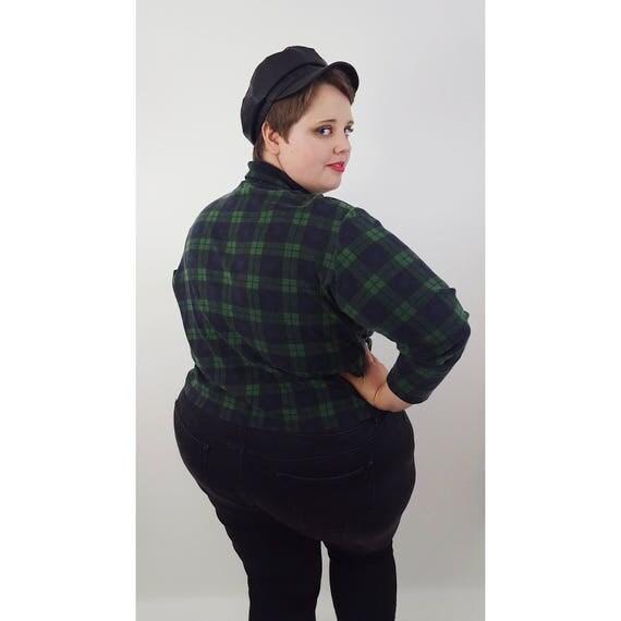 Vintage 80s Plaid Long Sleeve Shirt - Vtg Plaid Grunge Plus Size Top Gold Crest - Women Unisex Blue Green Mock Neck Grid Long Sleeve Shirt