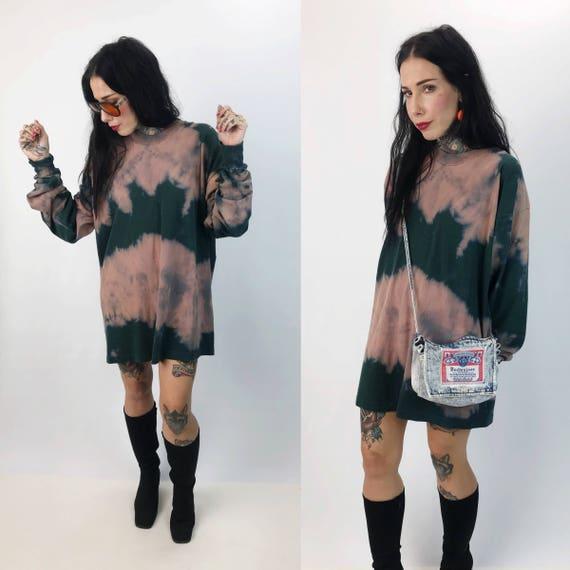 Long Sleeve Tie Dye Baggy Cotton Tee 2XL  - Two Tone Green & Purple Plus Size Baggy Shirt - Long Sleeve Tall T-Shirt UNISEX Street Style
