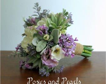 "Lavender, Ivory, Green, Silk Flower Bridal Bouquet and Boutonniere, Camellia, Freesia, Lilac, Succulent, Burlap Stem Wrap, ""Springtime"""
