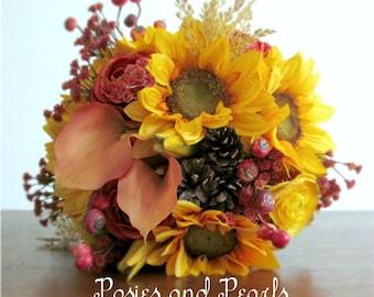 "Fall Silk Flower Bridal Bouquet, Sunflowers, Ranunculus, Calla Lilies, Berries, Pine Cones, Leaves, Autumn Wedding Flowers, ""Harvest"""