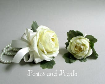 """Ivory Ranunculus and Pearl Bracelet Corsage with Boutonniere, Silk Flower Wrist Corsage, Silk Boutonniere, Wedding Flowers """"Sublime"""""""