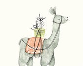 Postcard Lama, Illustrated Postcard, Watercolor, Pen and Pencils