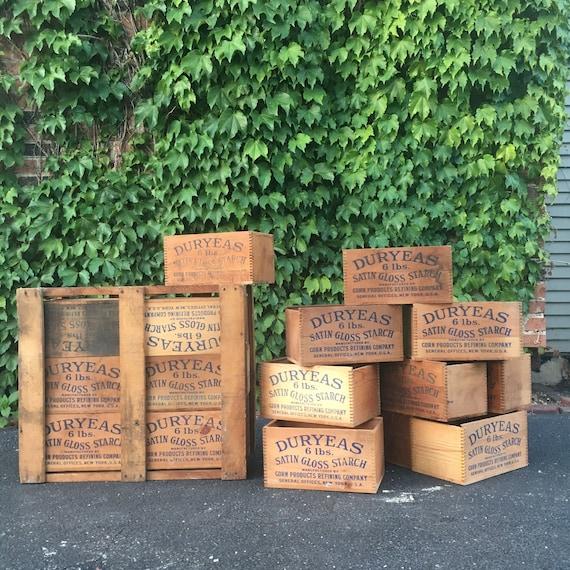 Antique Wood Crates, Dovetail Box, Wooden Starch Crate, Duryeas New York, Rustic Industrial Storage
