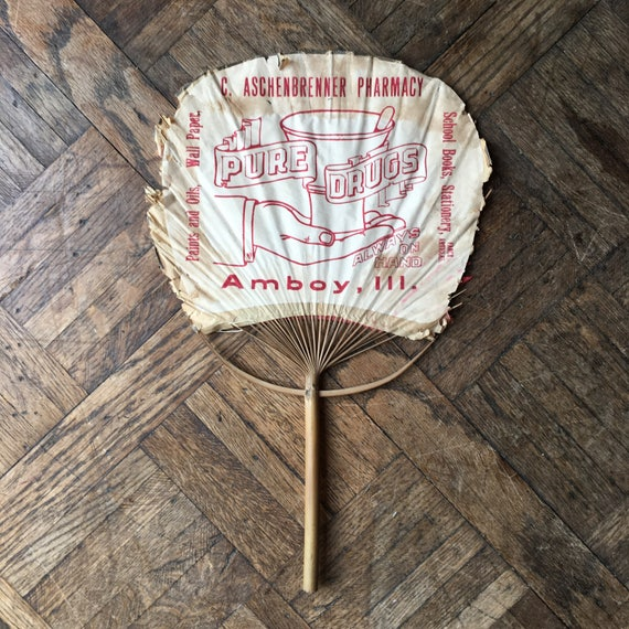 Antique Paper Hand Fan Pharmacy Advertisement, Japanese Uhiwa Fan, Pure Drugs, Amboy Illinois, Apothecary Decor